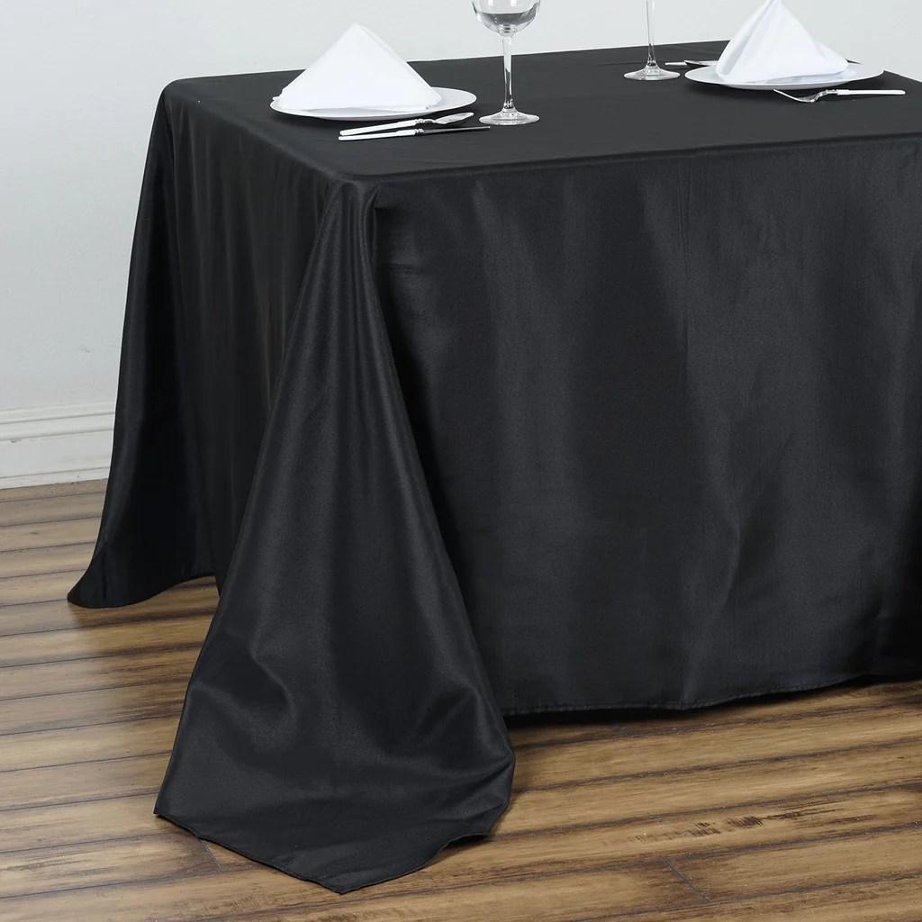 "90"" Black Premium Square Polyester Tablecloth"