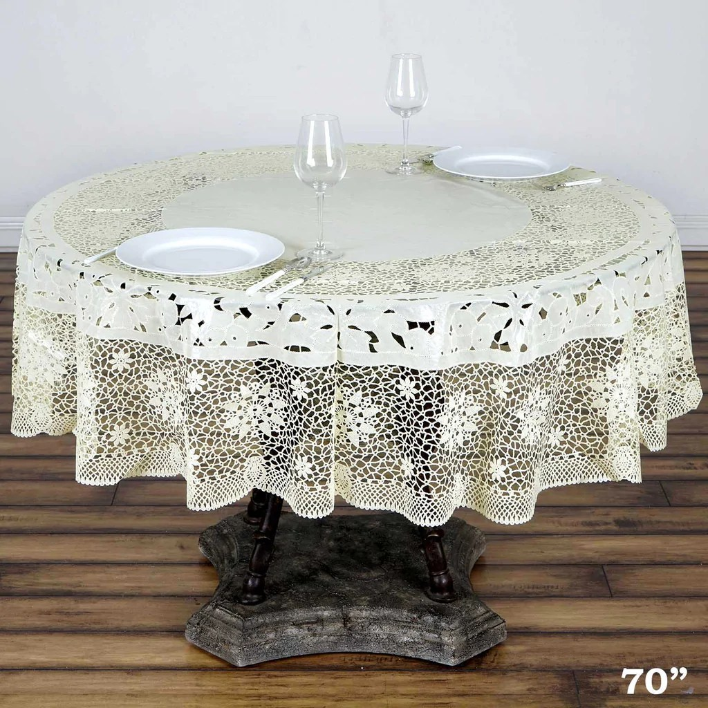 70 Round Vinyl Lace Tablecloth