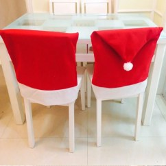 Christmas Chair Back Covers Uk Gym Exercise System 4pcs Cover Navidad Santa Clause Red Hat Decoration For Home New Year Party Decor