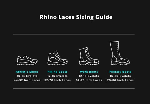 If your existing laces fall between two of our lengths we recommend going with the longer size so that you definitely have enough left to tie them also faq  rhino rh store rhinolaces