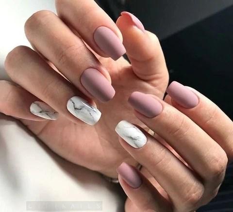pink matte nail design 2018