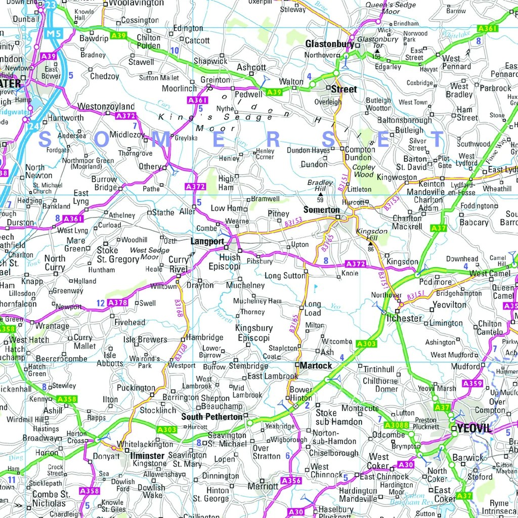 South West England and South Wales Regional Road Map