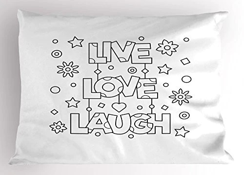 ambesonne live laugh love pillow sham doodle style words with flowers homeloft us