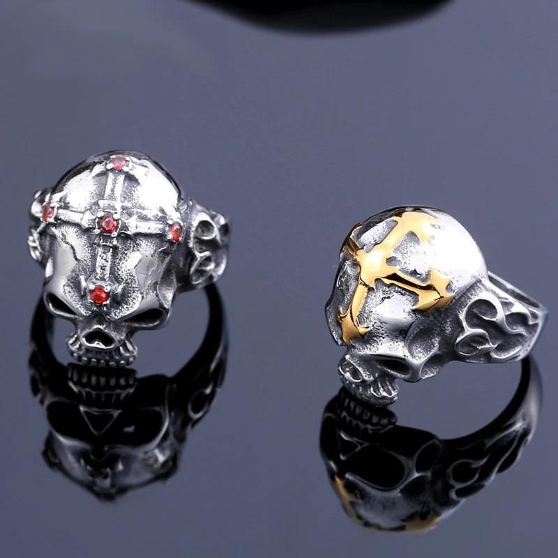 Golden Cross Of Rosicrucians Skull Ring Dragon