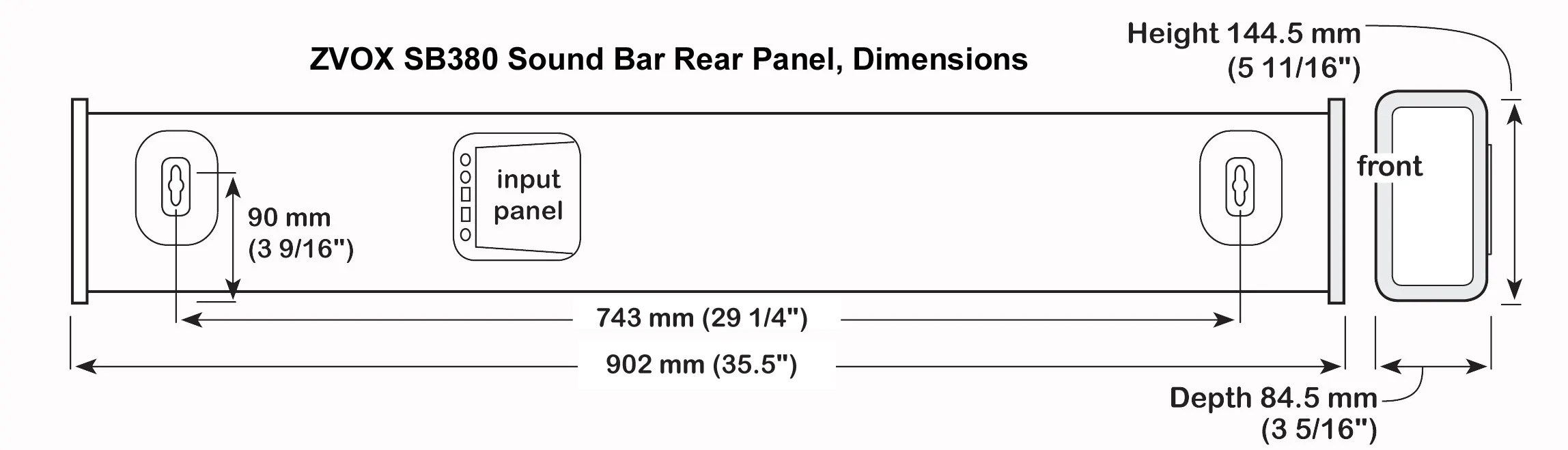 click here to download sb380 sound bar back panel illustration and dimensions [ 2296 x 659 Pixel ]