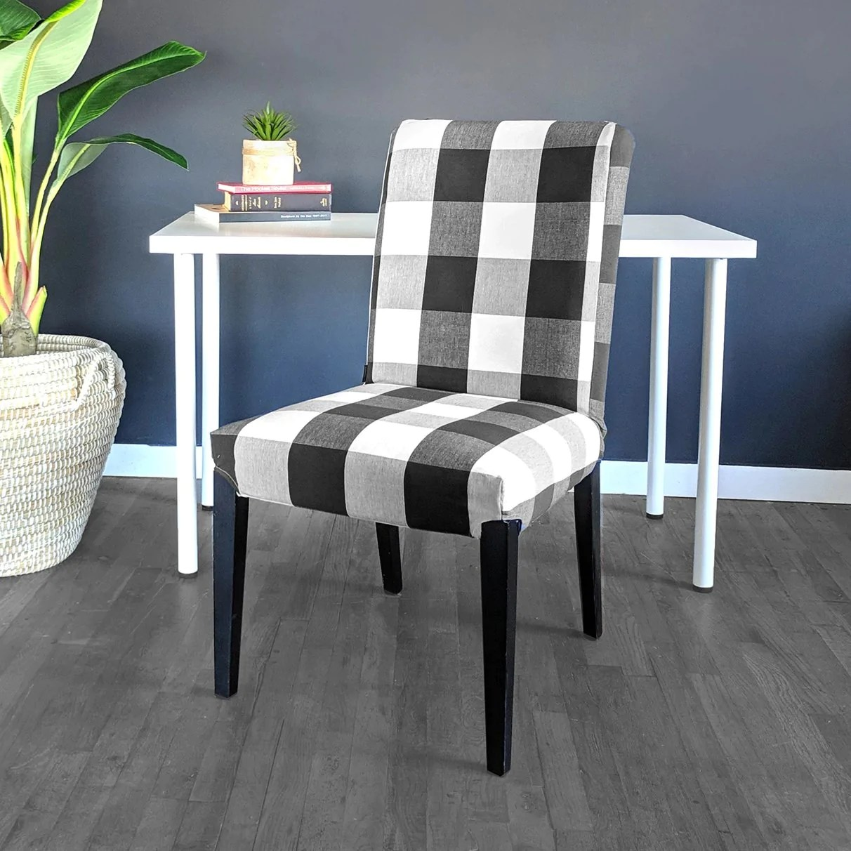 Ikea Henriksdal Dining Chair Cover Plaid Buffalo Check Black Affordable Designer Custom Handmade Trendy Fashionable Locally Made High Quality