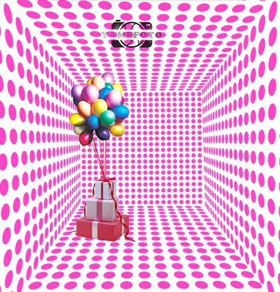3d pink dots wall