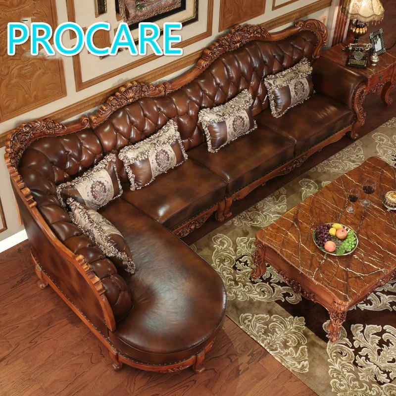 leather sofa set for living room what is the best made furniture american styl esolid wood l shape with carving