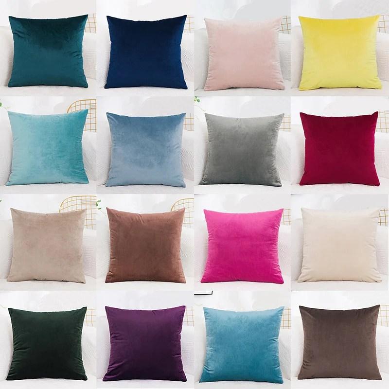 cushion cover velvet pillowcase solid color pillow case decor room pillow cover decorative sofa throw pillows