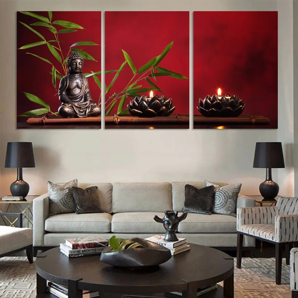 3 Pieces Large Buddha Canvas Print Painting Home Decor
