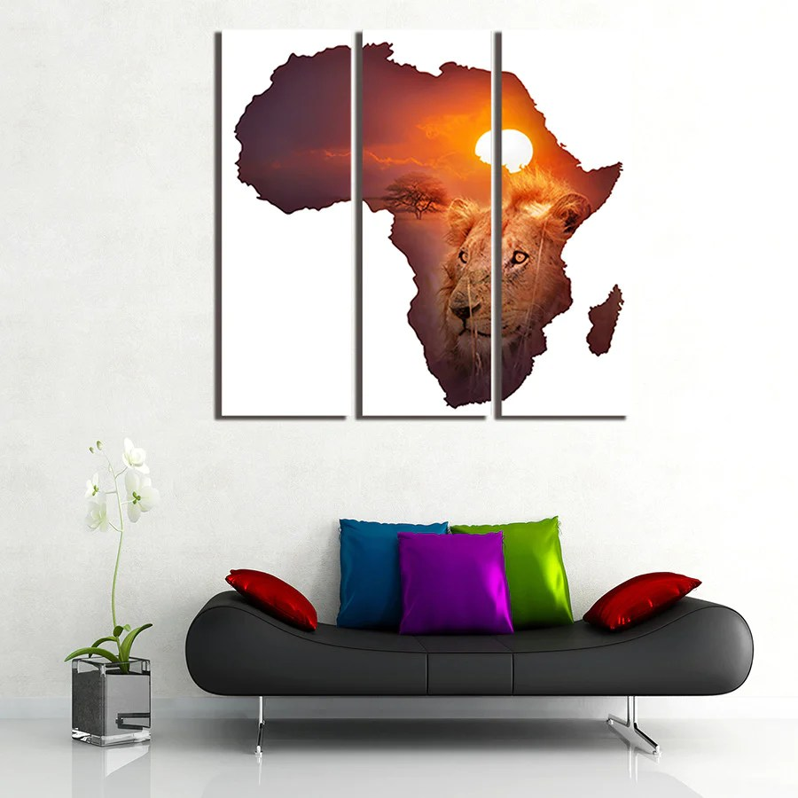 3 Panel The African Lion Wall Art Picture Painting Canvas