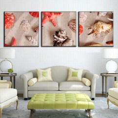 Canvas Prints For Living Room Sofa Designs 2016 3 Panel Art Starfishes And Seashells Print Wall Pictures