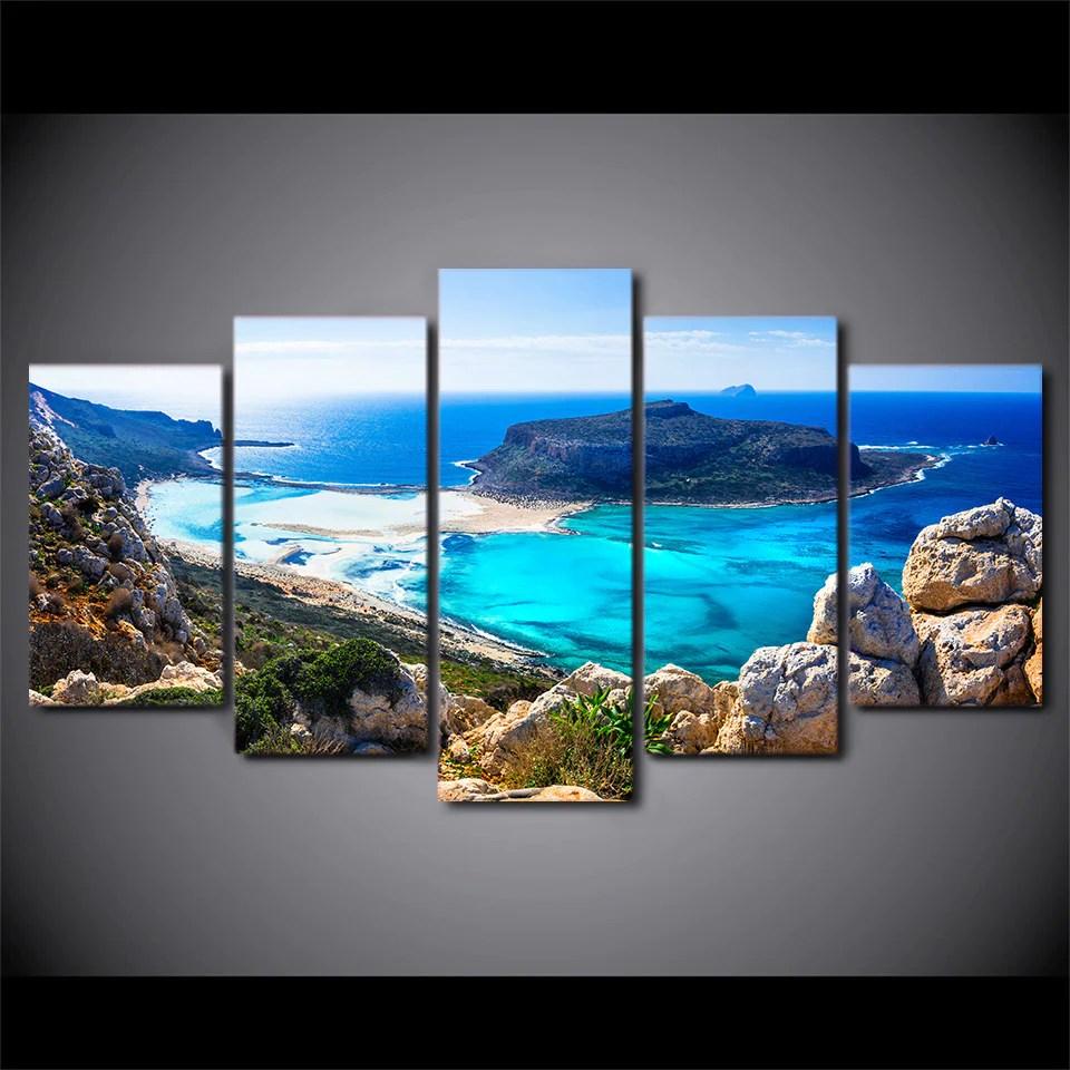 Hd Printed 5 Piece Canvas Art Blue Sea Beach Painting