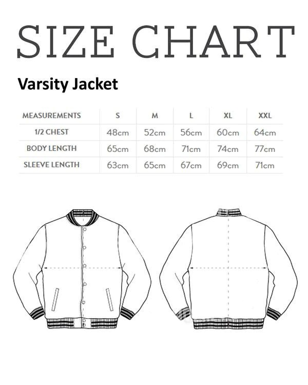 Size chart mens varsity jacket nme merch also guides  nmemerch rh