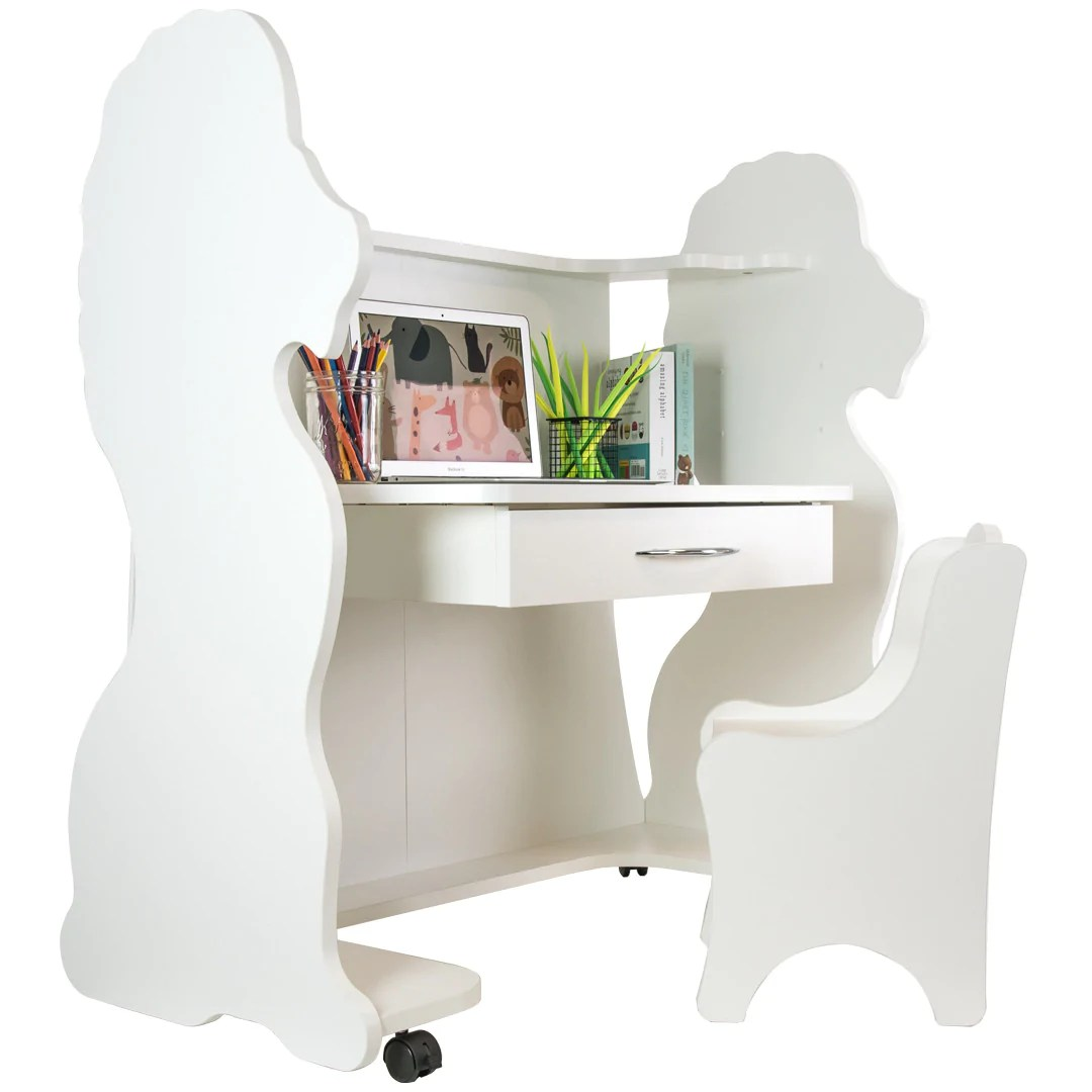 Height Adjustable Chair Mobile Height Adjustable Desk Lion White With Chair