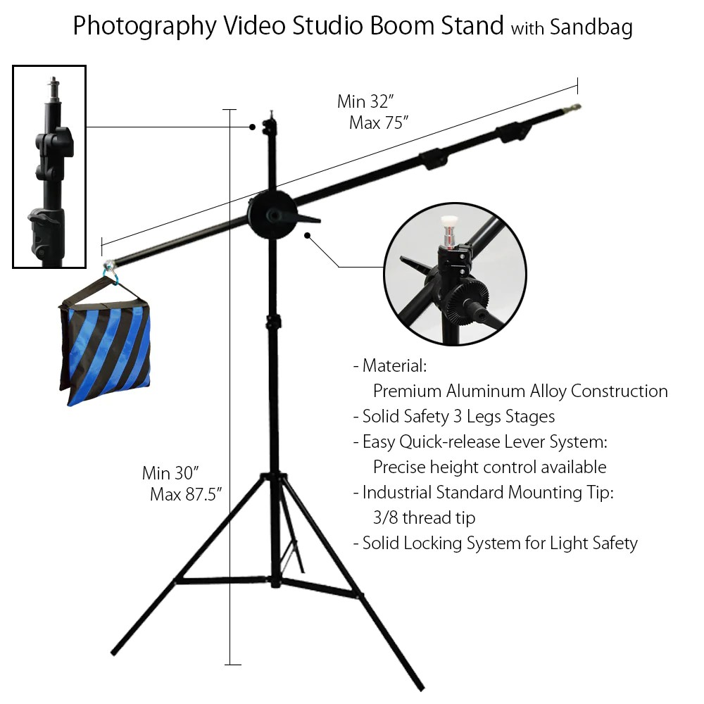 medium resolution of 75 boom arm extension with 87 light stand and weighted counter balance sandbag for