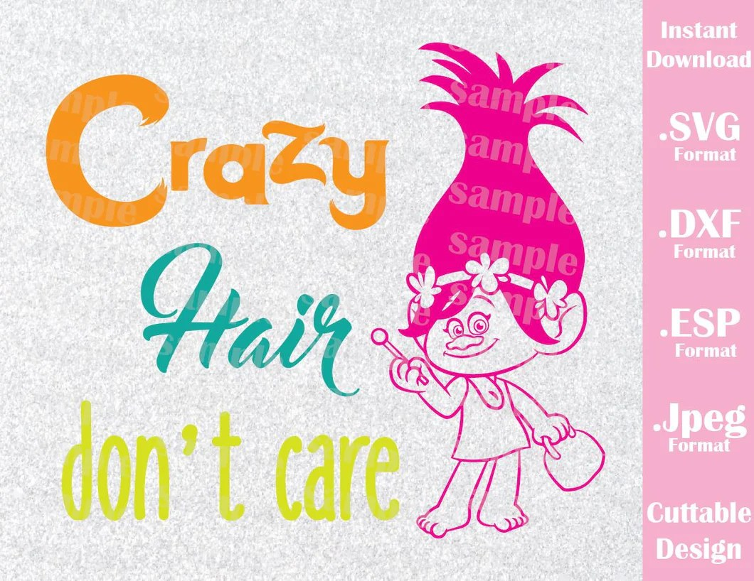 trolls crazy hair don't care kids