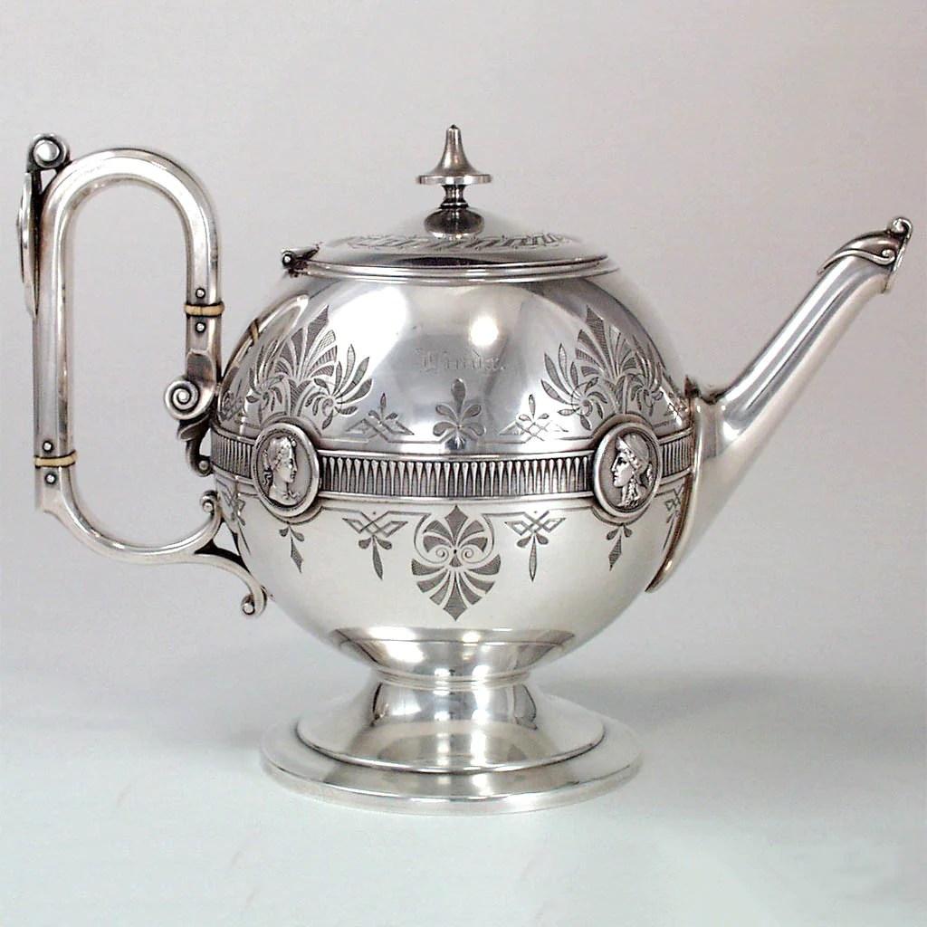 Gorham Antique Coin Silver Medallion Teapot Providence