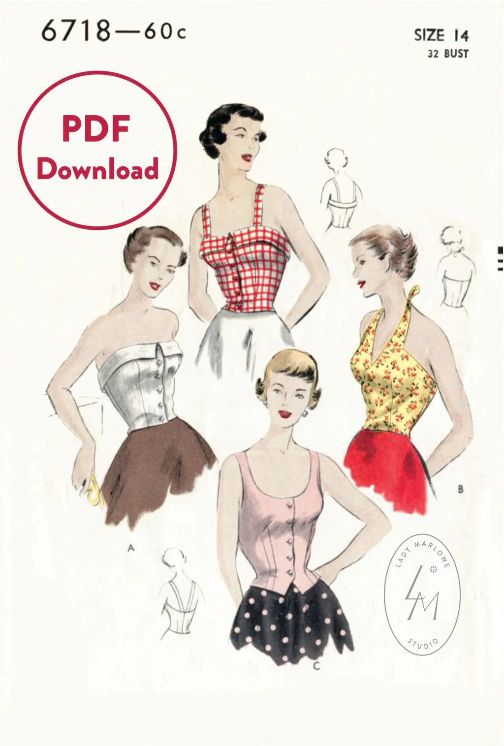 Crop Top Sewing Patterns : sewing, patterns, 1950s, Halter, Beachwear, Vintage, Sewing, Pattern, Download, Marlowe