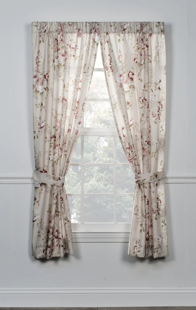 Chastworth Floral Print Tailored Panels Window Curtains