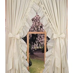 Priscilla Curtains Living Room How Do I Layout My Furniture Ruffled Country Window Toppers Stephanie Solid Color With Bow Tie Backs