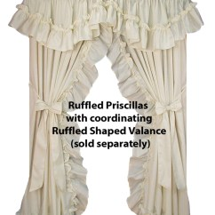 Priscilla Curtains Living Room Small Home Office In Ideas Ruffled Country Window Toppers