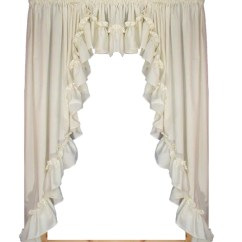 Swag Curtains For Kitchen Unfinished Wall Cabinets Swags Window Toppers Stephanie Natural Solid Color 3 Piece Country Ruffled Filler Valance Set