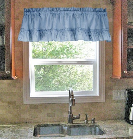 kitchen window valance painting cabinet ideas stacey solid color ruffled filler curtain