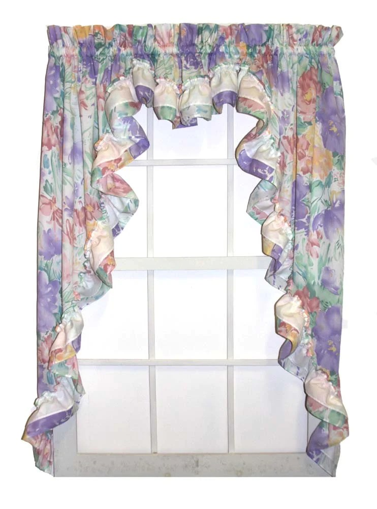 Nelly Multi Color Floral 3 Piece Ruffled Swags Amp Filler Valance Window Curtains Set Window Toppers