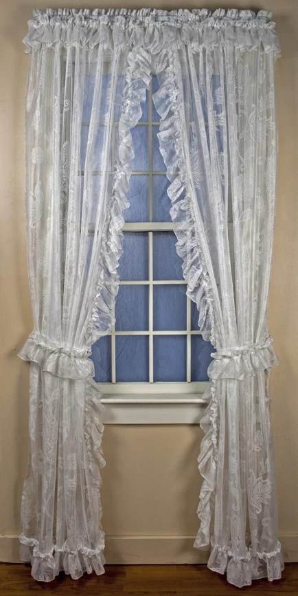 Beverly White Lace Ruffled Priscilla Window Curtains with attached Top Ruffle  Window Toppers