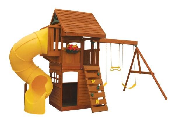 Cedar Summit Grandview Deluxe Swing Set w Tube slide by