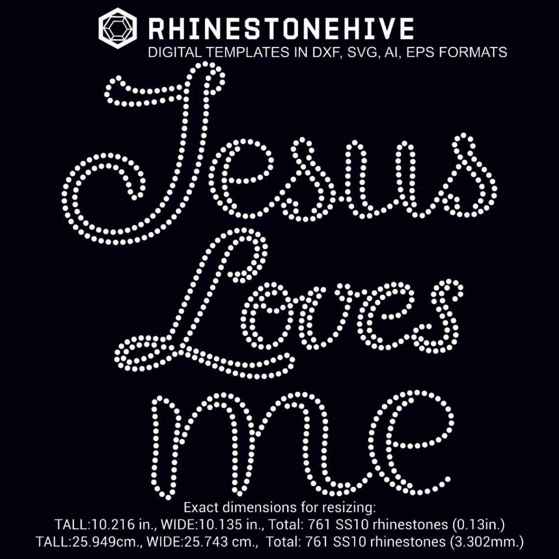 Download Jesus Loves me rhinestone template digital download, ai ...