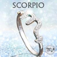 Sterling Silver Scorpio Zodiac Ring - Birthstone Deals