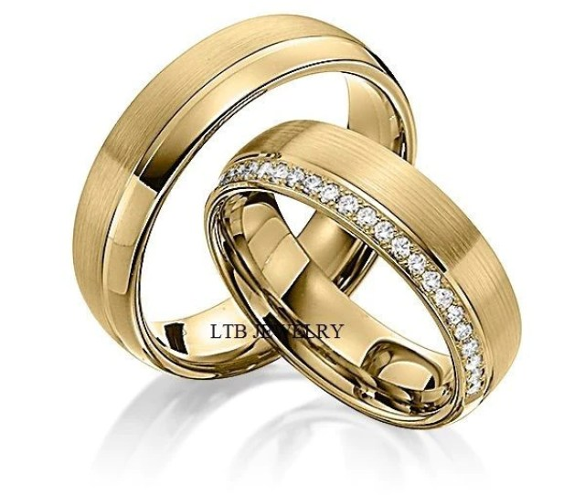 Mens Womens K Yellow Gold Matching Wedding Bands Sethis Hers Wedding Rings