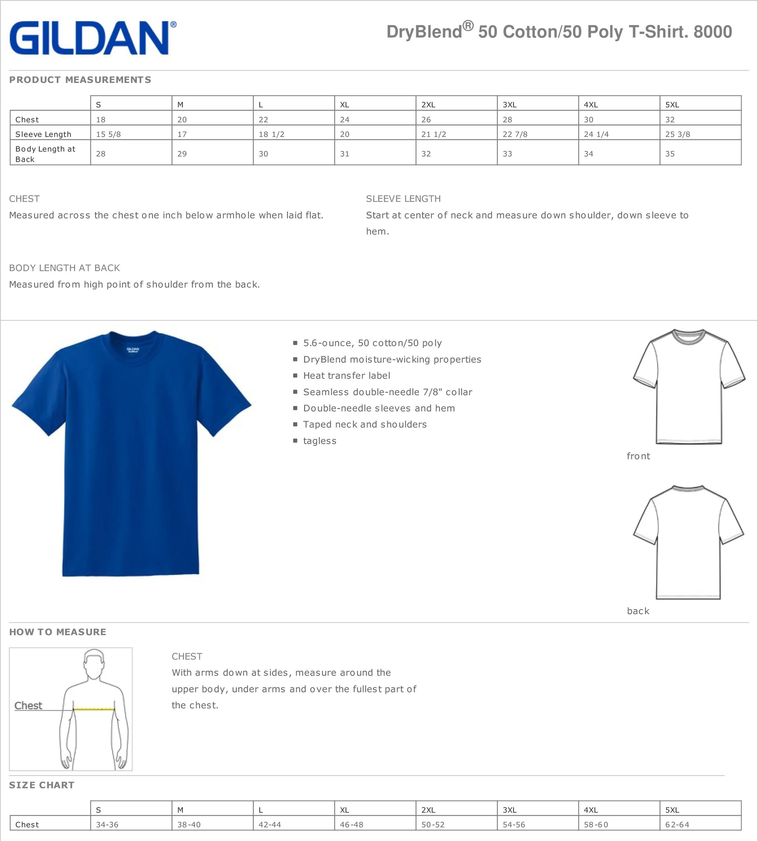 Gildan Heavy Cotton T Shirt Size Guide