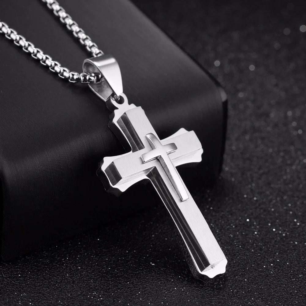 christ cross men necklace