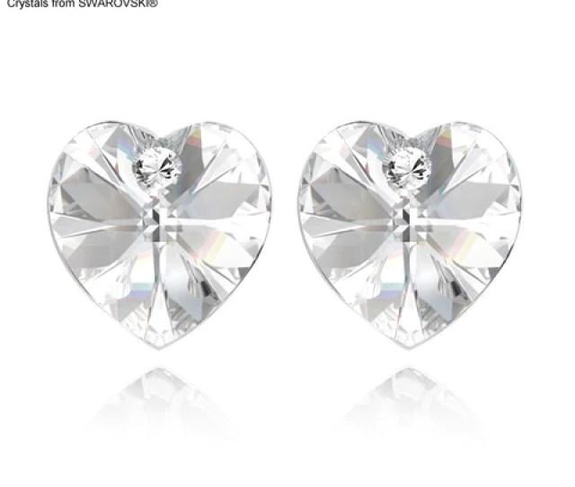 Swarovski Elements Crystal Heart Stud Earrings