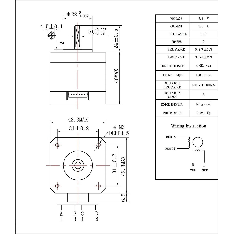 athorbot 5pcs nema 17 stepper motor bipolar 1 5a 57oz in 40mm 4 lead for 3d printer cnc [ 1500 x 1500 Pixel ]