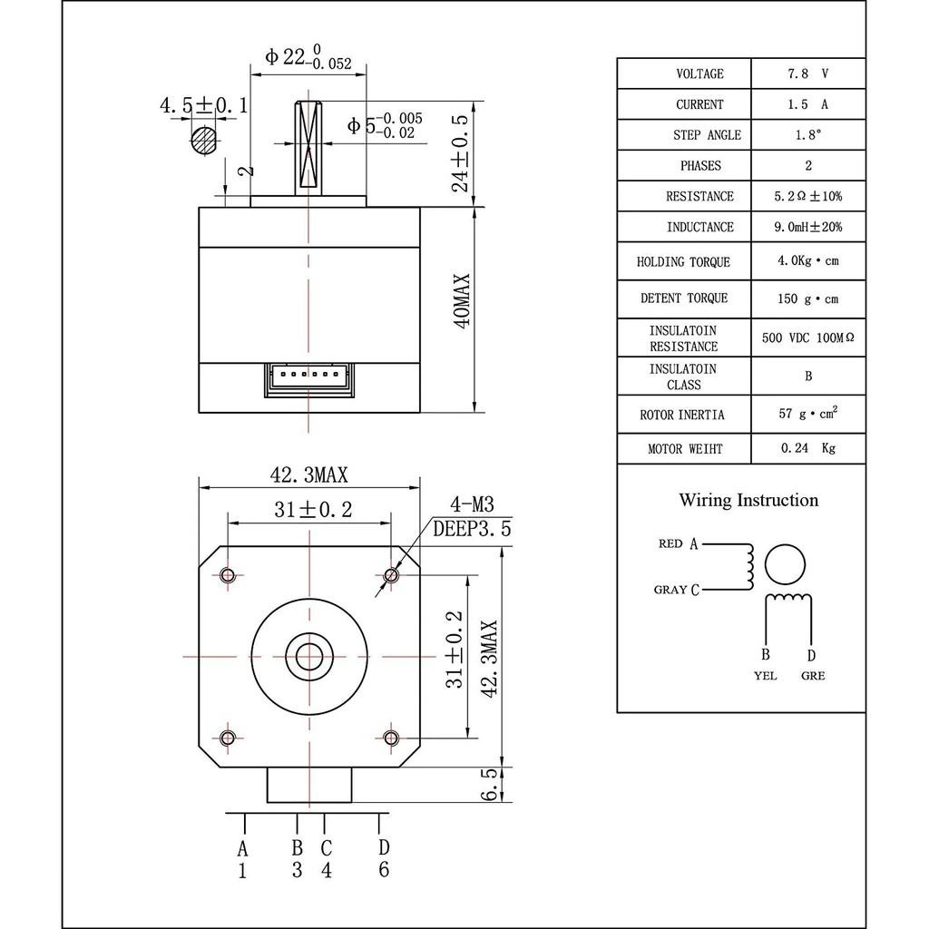 athorbot 5pcs nema 17 stepper motor bipolar 1 5a 57oz in 40mm 4 lead [ 1024 x 1024 Pixel ]