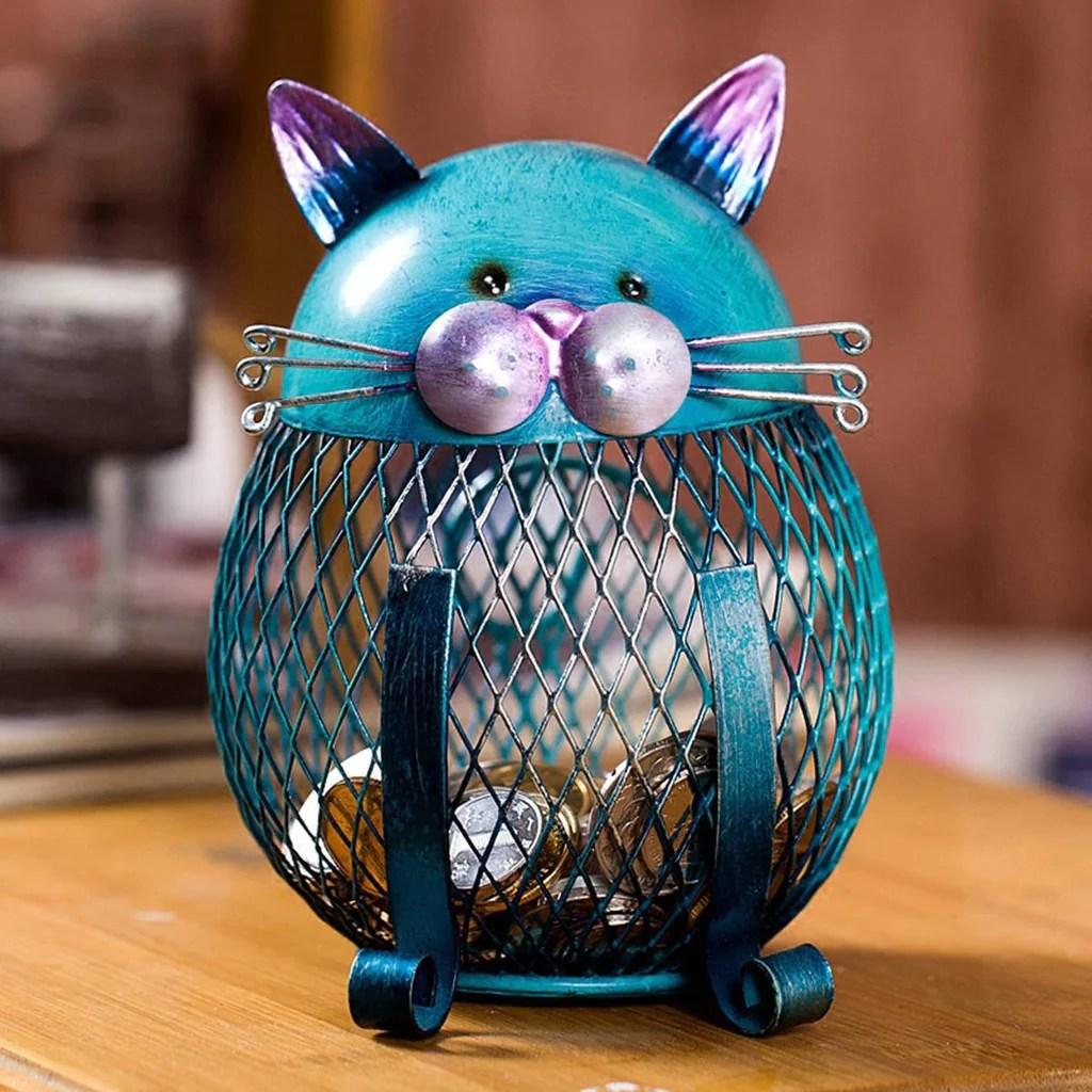 Blue Piggy Bank Cat