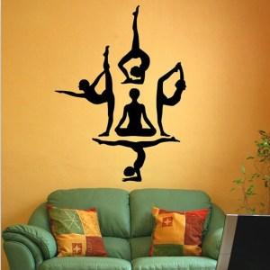 yoga wall meditation vinyl decor poses buddha decal exercise stickers mandala decals sticker chakra mural decoration om aum mantra shipping
