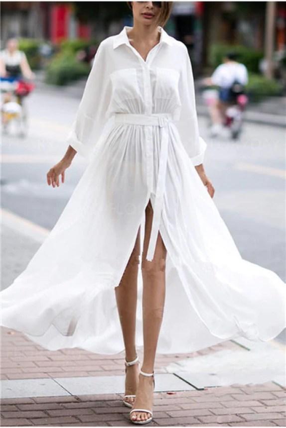 B |  Chicloth Shirt Collar Mulheres Branco Meia Manga Básica Fenda Sólida Vestido-Maxi Vestidos-Chicloth