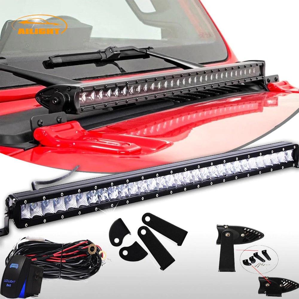 hight resolution of hood 30 31 single row led light bar wiring kit jeep wrangler jl