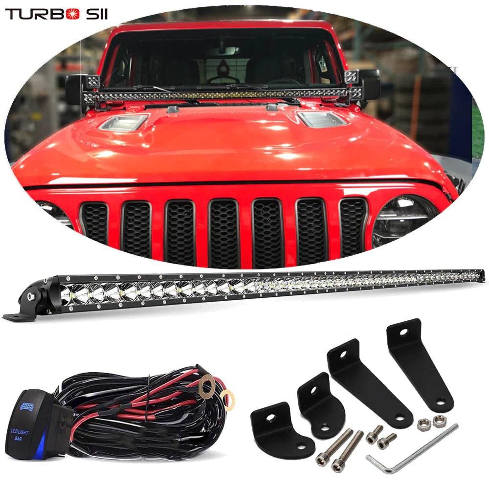 medium resolution of 50 51 hood light bar combo w wiring kit jeep wrangler jl 2018