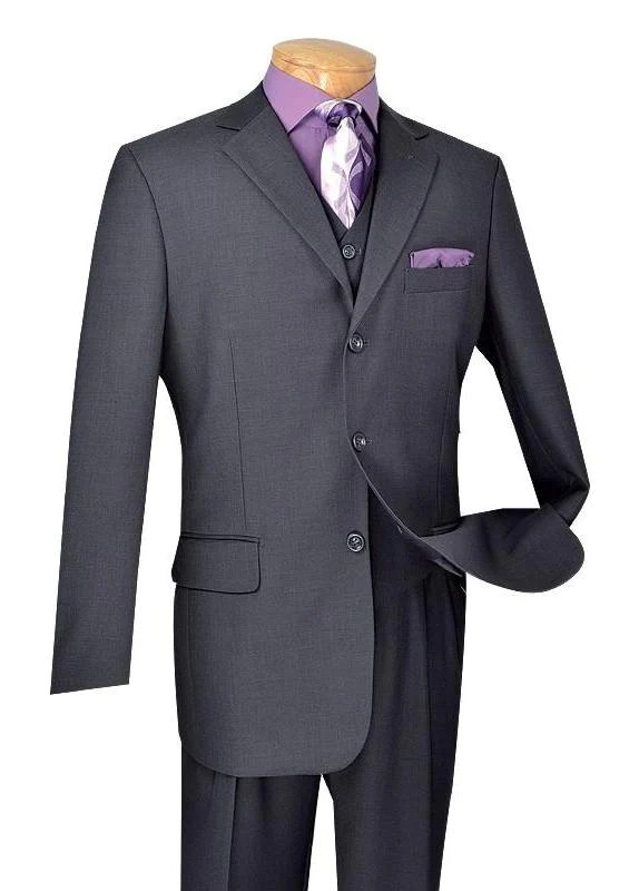Avalon Collection - Classic Fit Men's Suit with Vest 3 Buttons Pure Solid Heather Gray - Heather Gray / Double Pleated Unhemmed Pants 36