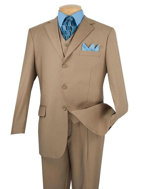 Avalon Collection - Classic Fit Men's Suit with Vest 3 Buttons Pure Solid Khaki - Khaki / Double Pleated Unhemmed Pants 36