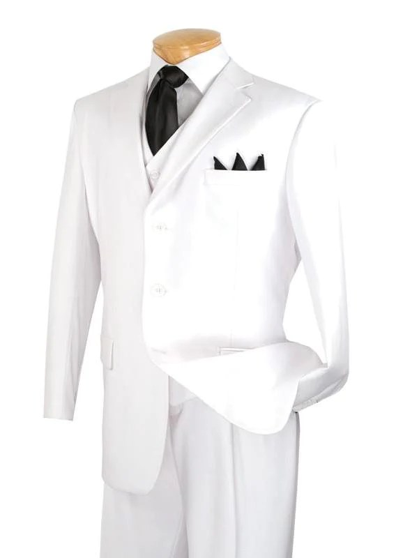 Avalon Collection - Classic Fit Men's Suit with Vest 3 Buttons Pure Solid White - 36 Short - 30 Waist / White