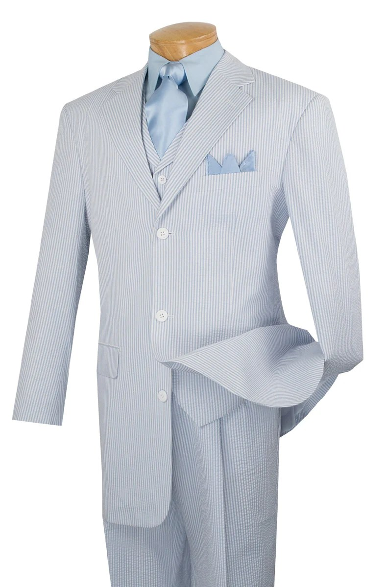 100% Cotton Classic Fit Men's Fashion Suit in Baby Blue - 48 Regular - 43 Waist / Baby Blue / Double Pleated Unhemmed Pants 36