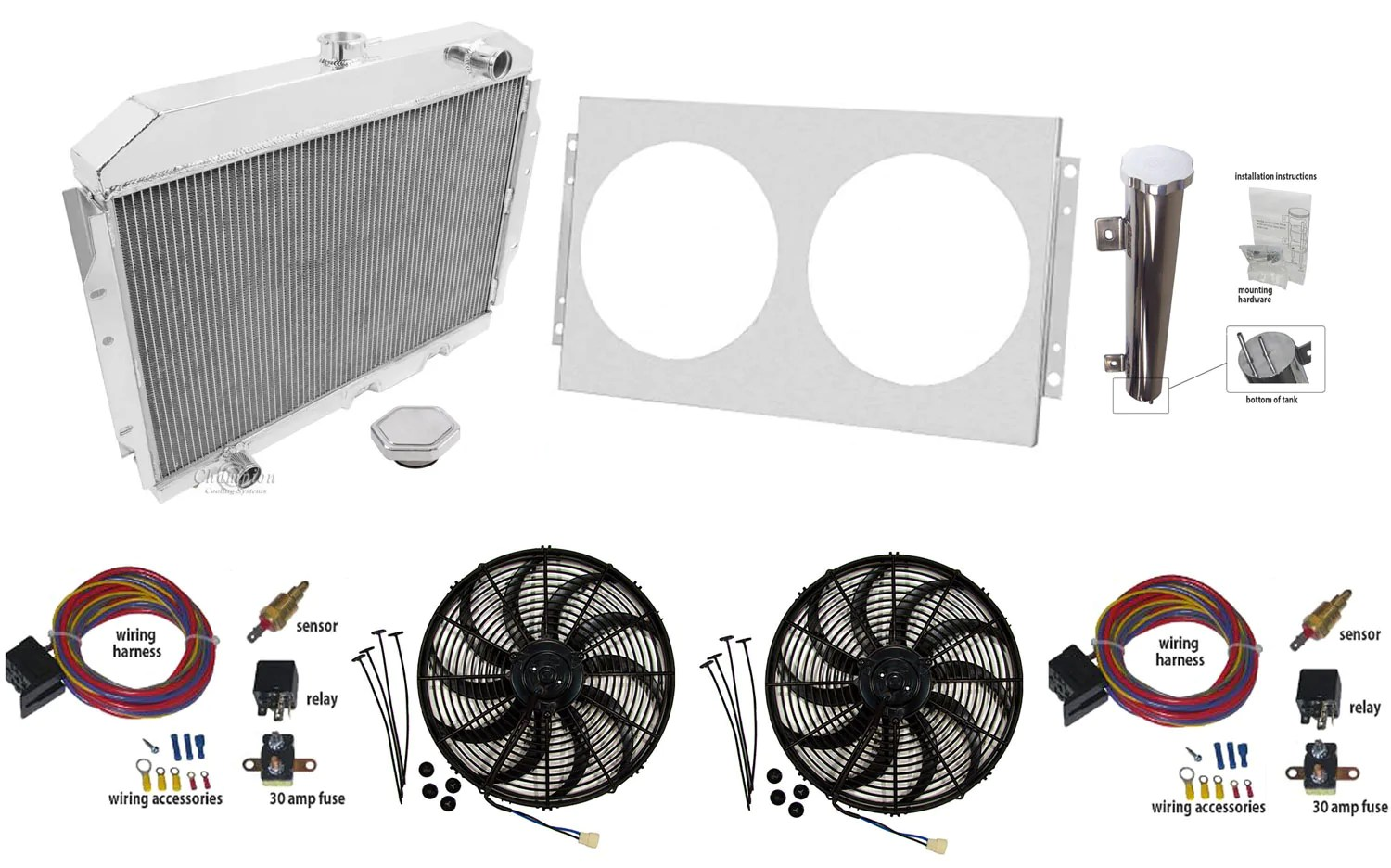 1958 1988 amc champion 3 row not oe fit aluminum radiator master kit cools up to 800hp  [ 1500 x 936 Pixel ]