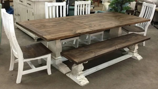 Rustic Antique White Dining Table with Bench  Pacific